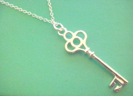Vintage Style Necklace Keys Design .925 Sterling Silver