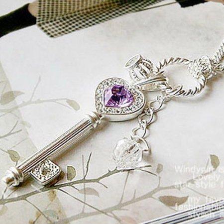 Vintage Style Necklace Exquisite Amethyst, Crown & Key Design