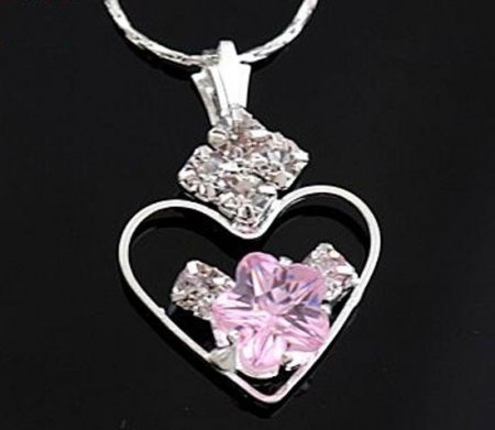 Necklace Austrian Pink Rose Crystals Deluxe