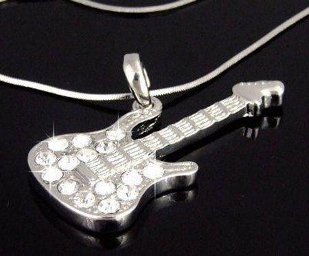 Rock Guitar Necklace w/ Swarovski Crystals