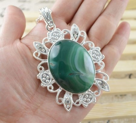 Necklace Fancy Malachite Gemstone .925 Sterling Silver