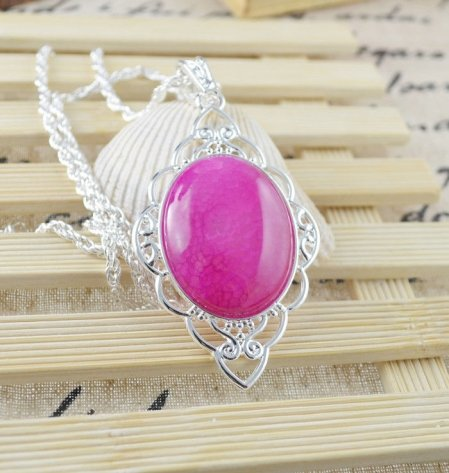 Necklace Fancy Rhodonite Gemstone .925 Sterling Silver