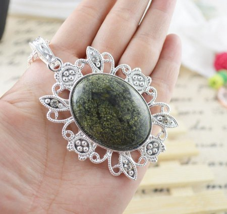 Necklace Fancy Tree Agate Gemstone .925 Sterling Silver