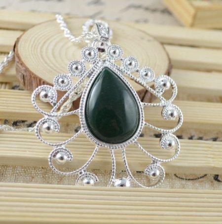 Necklace Fancy African Jade Gemstone .925 Sterling Silver