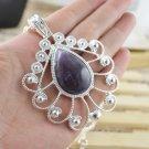 Necklace Fancy Purple Jade Gemstone .925 Sterling Silver