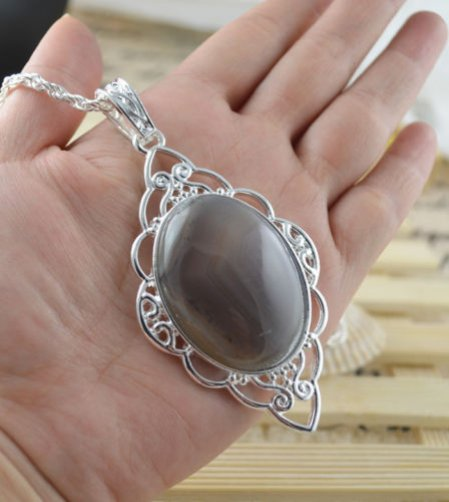 Necklace Fancy Moonstone Gemstone .925 Sterling Silver