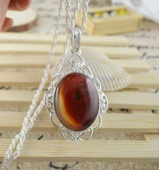Necklaces Fancy Autumn Jasper Gemstone .925 Sterling