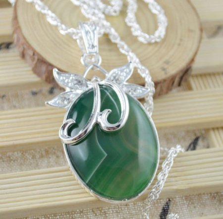 Necklace Fancy Botswana Green Agate Gemstone .925 Sterling Silver