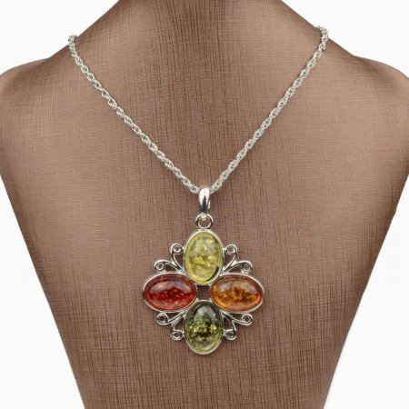Necklace Natural Amber Gemstone .925 Sterling Silver
