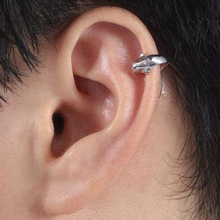 Ear Wrap Cuff .925 Sterling Silver -Diving Dolphin