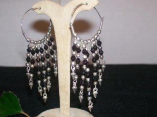 """Hoop Earrings - Onyx Crystals- Sterling Silver 2"""""""