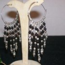 Hoop Earrings - Onyx Crystals- Sterling Silver 2""