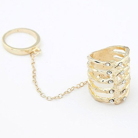 Double Ring W/ Crystals - 9k Gold Filled