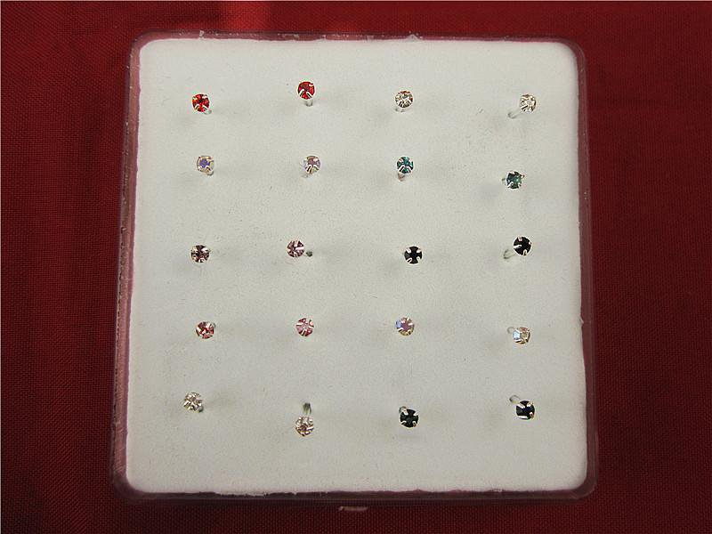 Sterling Nose Stud - Colorful  Crystal - Color Choice