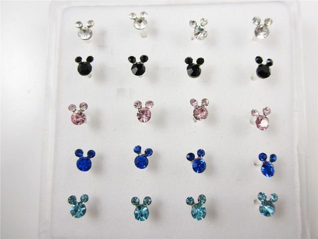 Sterling Nose Stud - Mickey - Gem Crystal Color
