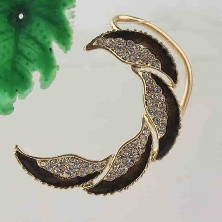 9k Gold Filled Clear Austrian Crystals Left Ear Cuff Earring