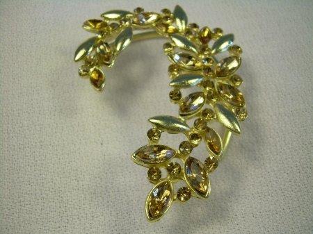 9k Gold Filled Round Champagne Austrian Crystals