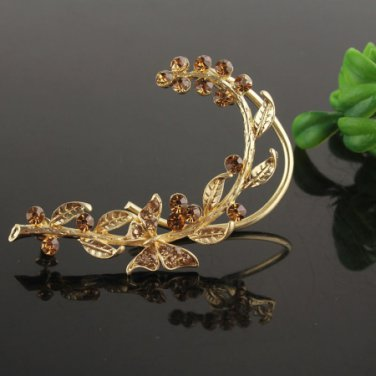 Ear Cuff 9k. Gold Filled Butterfly Clear - Champagne Crystal