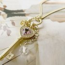Necklace Exquisite Amethyst 9k Gold Filled Crown & Key