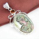 "Carved Lady Cameo Crystal Topaz Pendant 2 1/2"" .925 Sterling Silver"