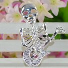 Hard Rocker Skeleton Playing Guitar Pendant .925