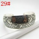 German Silver Bracelet. Design: Fish & Flowers #29