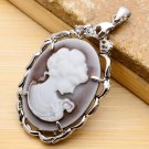 Carved Princess Cameo Pendant .925 Sterling Silver