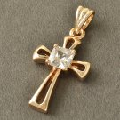 9K Rose Gold Filled Crystal Cross Pendant Unisex
