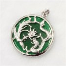 Green Jade Dragon Silver Pendant W/ Neck Chain