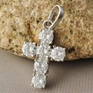 9K White Gold Filled/925 Silver Clear Crystal Cross Pendant