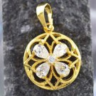 9K Yellow Gold Filled Clear Austrian Crystal Round Pendant