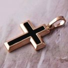 Classic Black Enamel Rose 9k Gold-Filled Cross Pendant