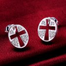Cross-Earrings 925 Sterling Silver Swarovski Crystals