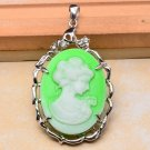 Carved Princess Cameo Pendant Green .925 Sterling Silver
