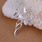 925 Sterling Silver Gemstone Heart - Cross Pendant