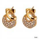 Stud Earrings - Half Moon - 9k Gold Filled Clear Crystal