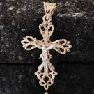 9K Gold Filled & .925 SS Cross Jesus Crucified Pendant