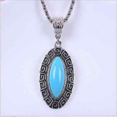 Natural Turquoise Silver Pendant & Chain