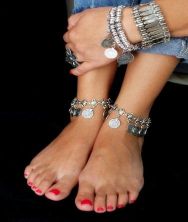 Silver Ankle Chain Coins Barefoot Beach Jewelry