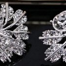 Beautiful Sterling Silver Leaf Stud CZ  Earrings - Super Sparkle