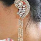 Tassel CZ Crystals Dangle Gold Filled Ear Cuff Clip Left Ear