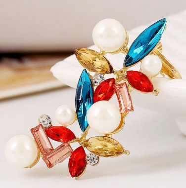 9K Gold Filled Ear Cuff  CZ Crystals & Colorful Gems Stones