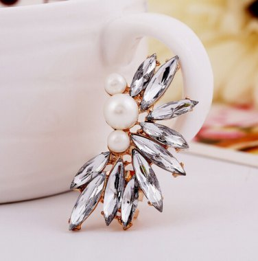 9K Gold Filled Ear Cuff  CZ Crystals & Freshwater White Pearls