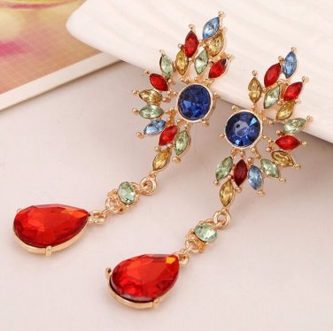 9K Gold Filled Colorful AAA CZ Crystal Drop Earrings