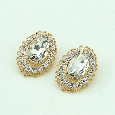 9K Gold Filled AAA Clear CZ Round Crystal Earrings