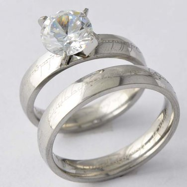 925 Sterling Silver CZ Crystals His & Her Wedding Ring Set