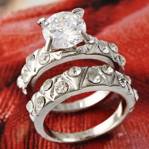 1.25 Carat Round Brilliant CZ Sterling Silver 925 Wedding Ring Set