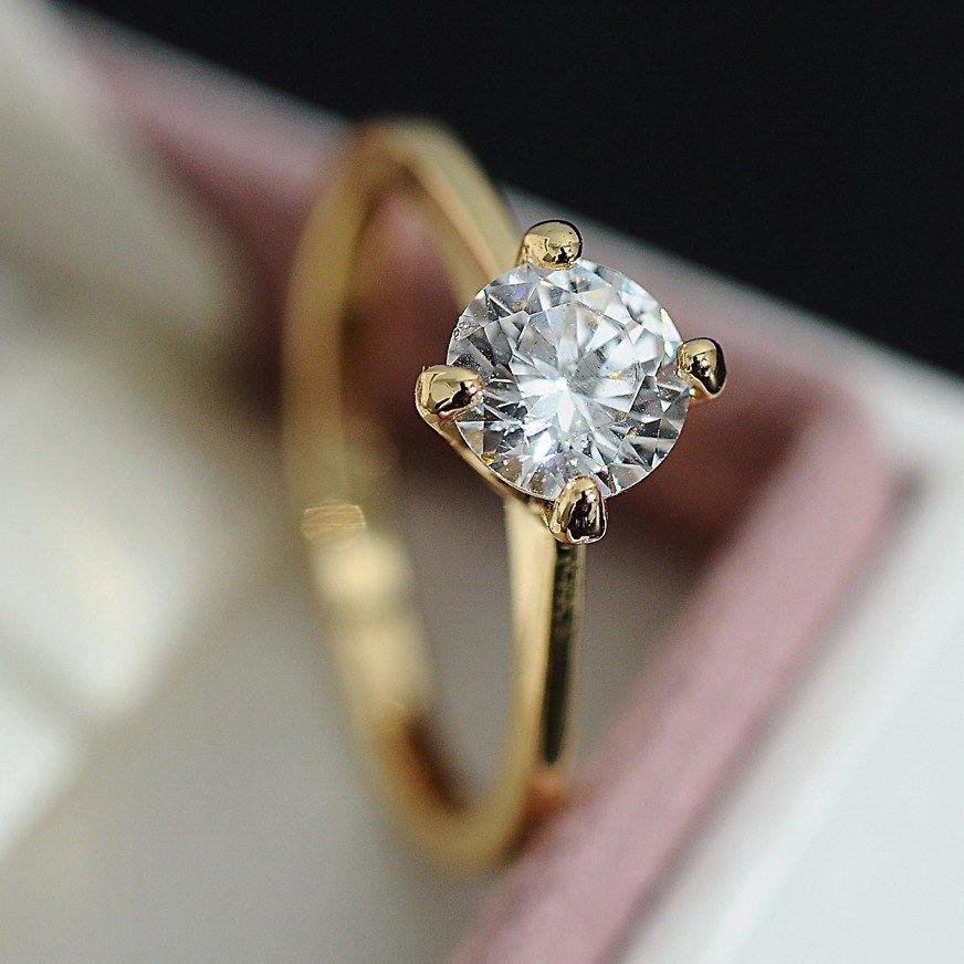 14k Gold Filled CZ Crystal Engagement Ring 4 Prong