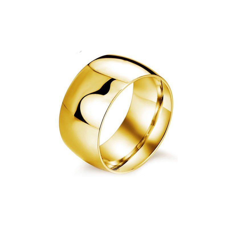 Wide Highly Polish Gold Wedding Band -  Classic Ring