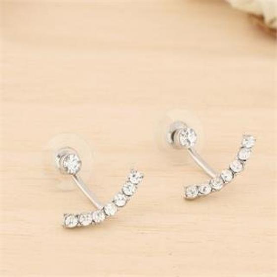 Fashion Crystal Earring - Ear Stud - Silver